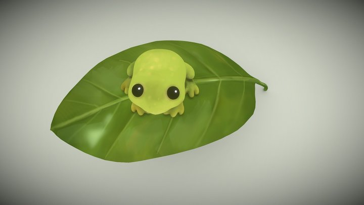 Froggy on a Leaf 3D Model