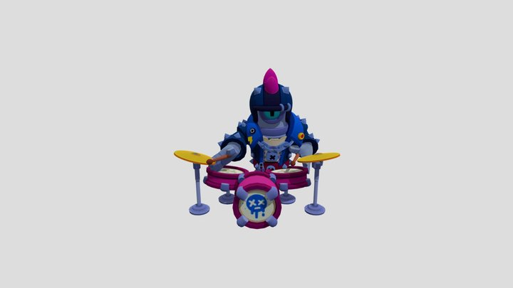 Stu Punk With Drums With Animations 3D Model
