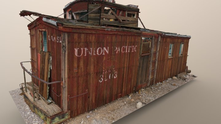 Union Pacific Railroad Car, Rhyolite 3D Model