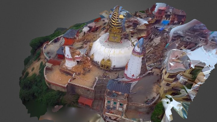Swayambunath Temple in Nepal 3D Model