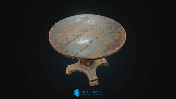 Old Round Table 3D Model