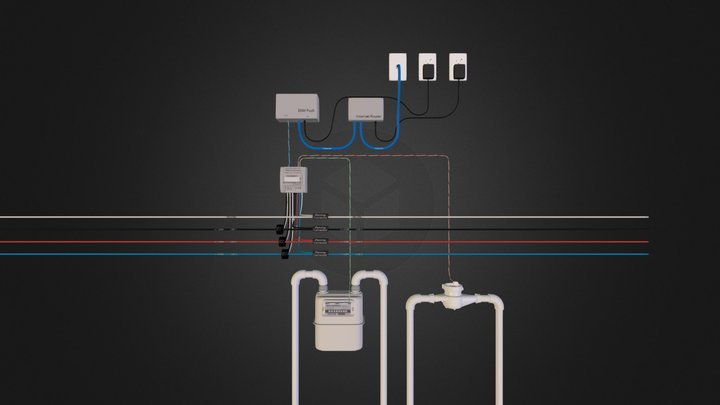 Omnimeter Pulse v.4 -Wired to Water & Gas Meters 3D Model