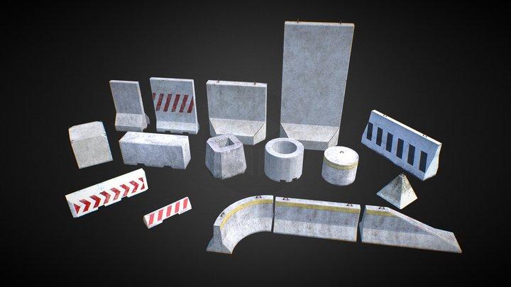16 Concrete Barriers - Big Pack 3D Model