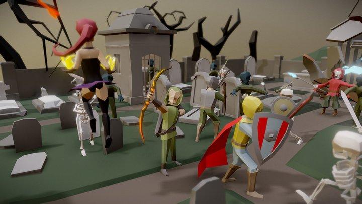 Cemetery fantasy battle 3D Model