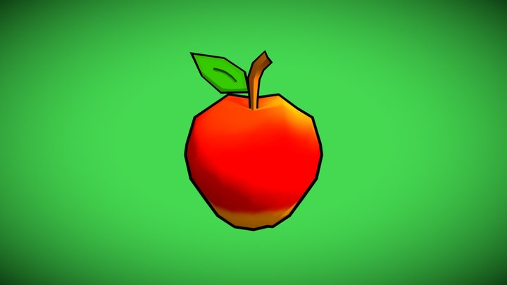 Apple with cartoon outlines 3D Model