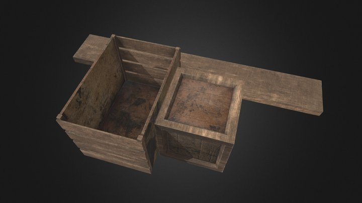 Crate And Plank 3D Model