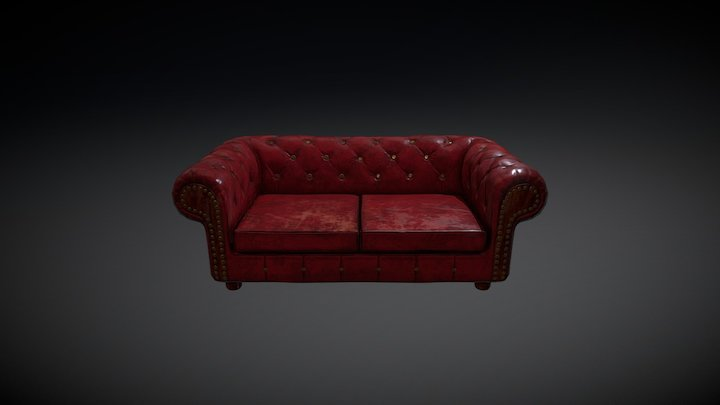 Vintage leather couch 3D Model