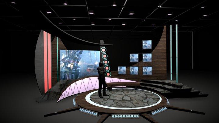 Virtual TV Studio Chat Set 11 3D Model