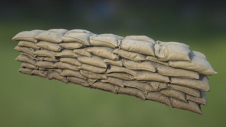 Sandbag Wall Long 01 3D Model
