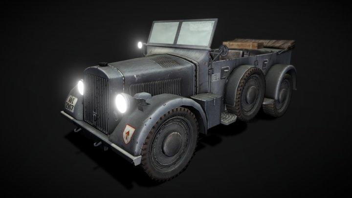 Horch 901 Officer Car - Game Asset 3D Model