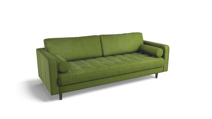 Scott 3 Seater Sofa,Grass Cotton Velvet 3D Model
