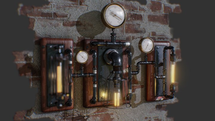 Wall Sconce with Pressure Gauge & Light 3D Model