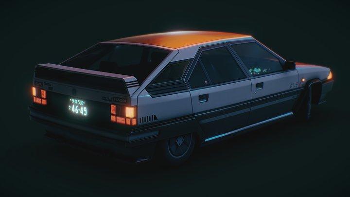 Futuristic 1980's Hatchback 3D Model
