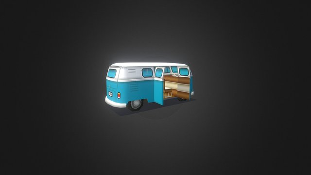 Vw Kombi Door Open 3D Model