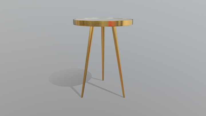 Gold three legged table 3D Model
