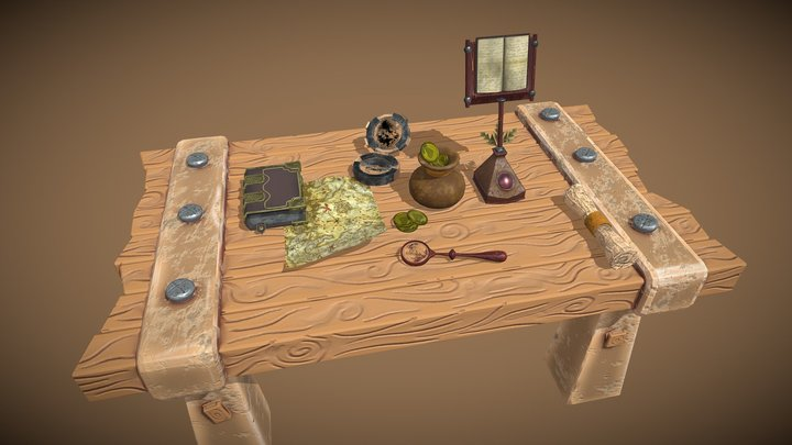 Stylized Pirate Table 3D Model