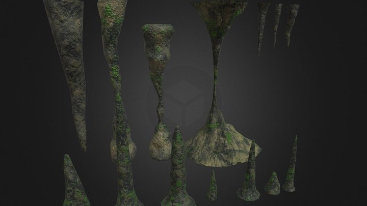Stalagmites, Collums and Stalacites 3D Model