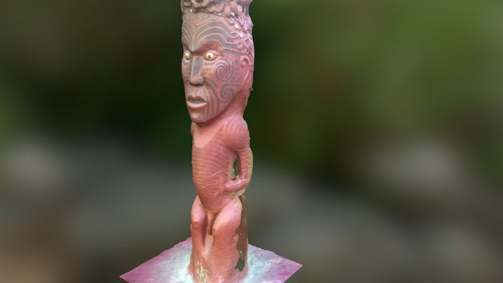 pou at tieke marae, whaunganui river 3D Model