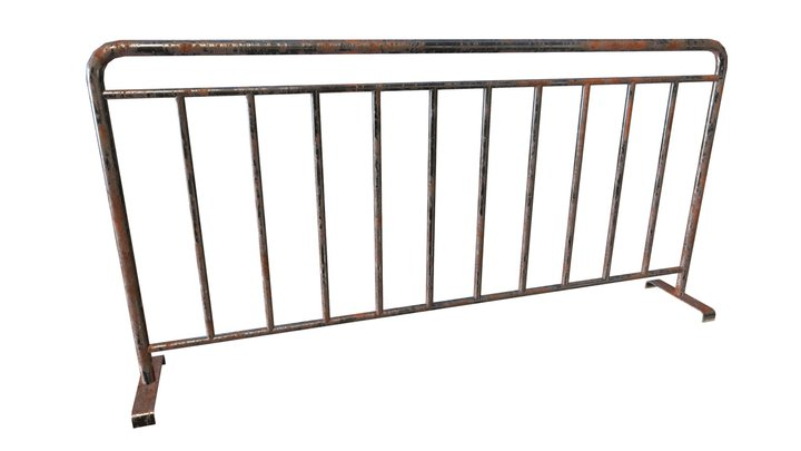 Rusty Metal Barrier (Low Poly, Game Ready) 3D Model