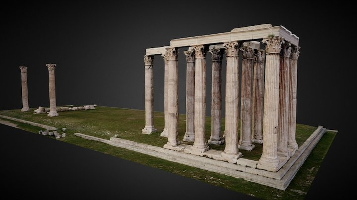 Temple of Olympian Zeus (low poly) 3D Model