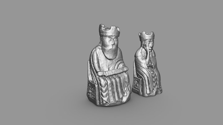 Printable Lewis chess set - the King and Queen 3D Model