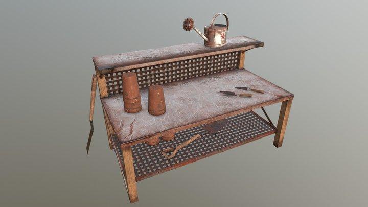 Desk near flover store 3D Model