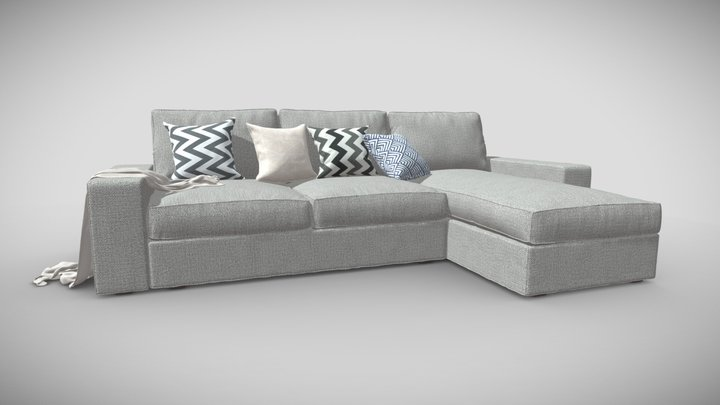 Sofa, couch - fabric 3D Model
