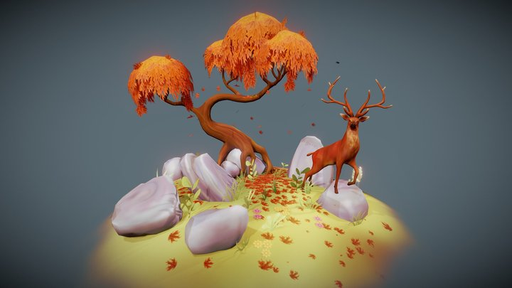 Autumn Scene with Stag 3D Model