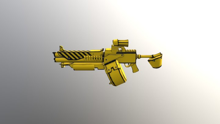 Yellow Rifle Borderlands 2 3D Model