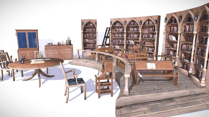 Medieval Library Model Pack low-poly 3D Model 3D Model
