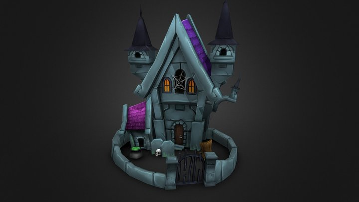 Hand Painted Haunted Castle 3D Model