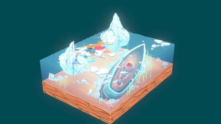 Cartoon polar diorama 3D Model