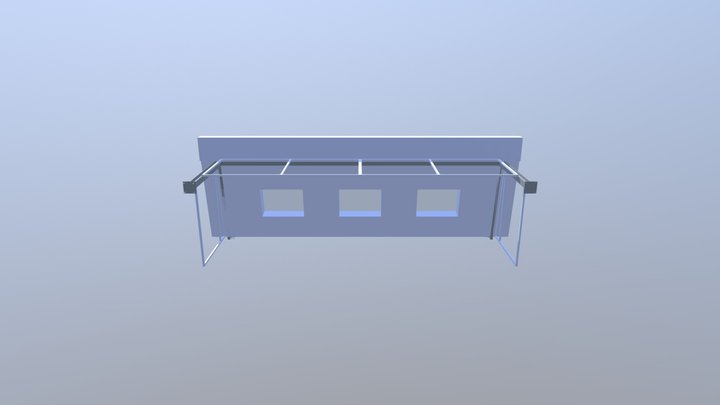 House extension steel glass with roof 3D Model
