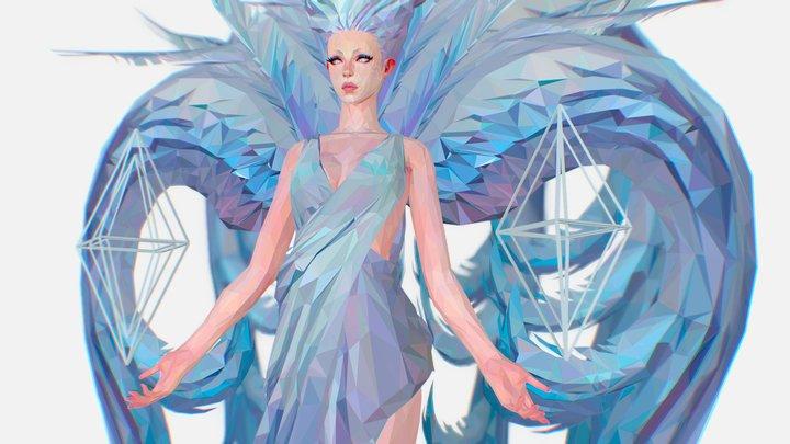 Polygon Art White Angel A. Women 3d Model 3D Model