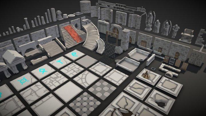 POLYGON - Dungeon Modular Floor and Wall tiles 3D Model