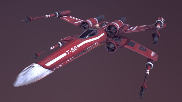 Red X-Wing 3D Model