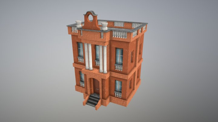 MiddleTerranean Low Poly Building 3D Model