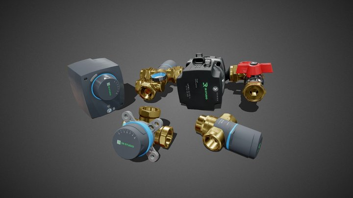 Hydraulic Components 3D Model