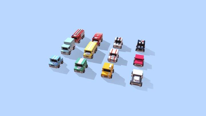 Voxel Cars 3D Model
