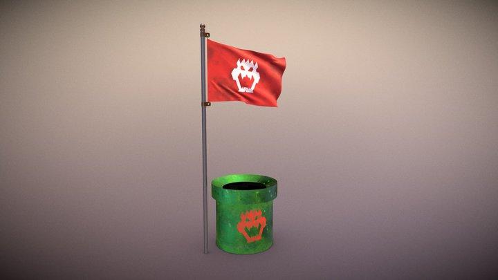 Bowser Pipe & Flag 3D Model