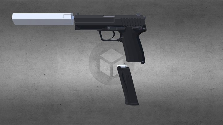 Usp45 polygon styled 3D Model