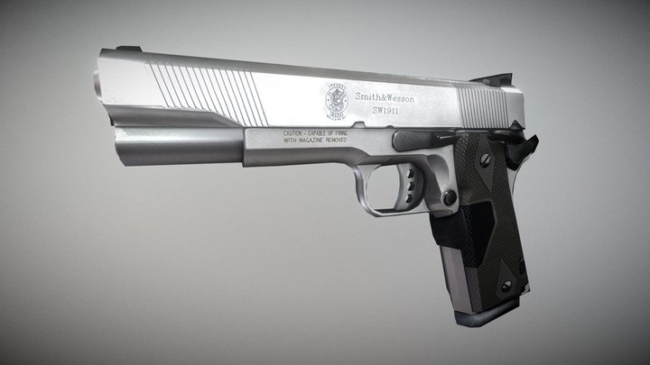 45 ACP Smith and Wesson Handgun 3D Model