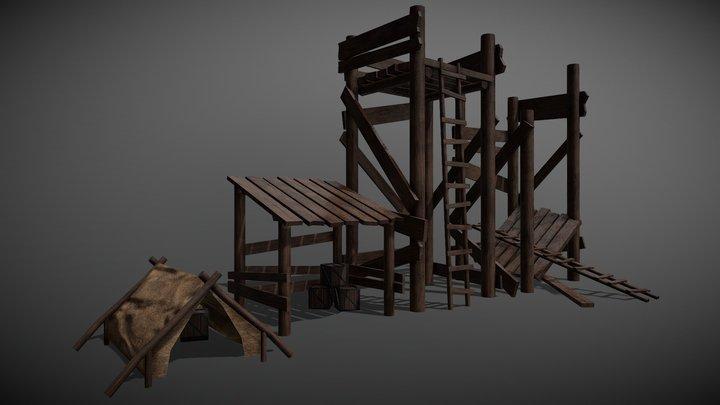 Wooden Misc Objects 3D Model