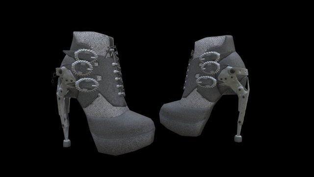Low Poly Steampunk Boot 3D Model