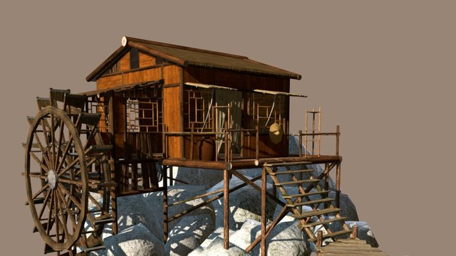 Watermill (Low Poly) 3D Model