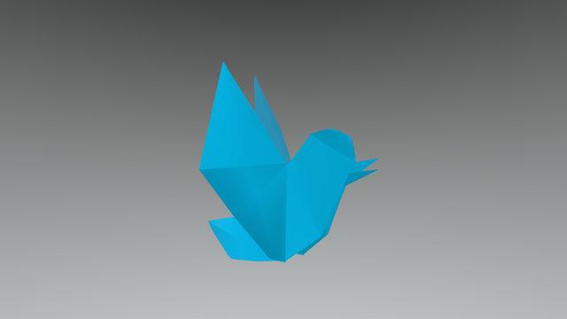 FREE Origami TWITTER BIRD 3D Model