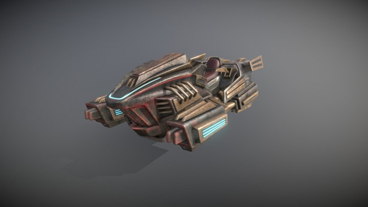 Post apocalyptic hoverbike 3D Model