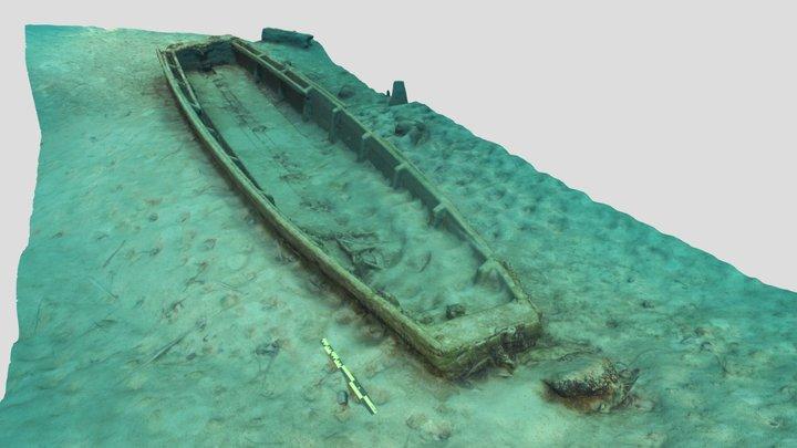 Underwater small fisherman boat 3D Model