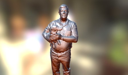 Man with Dog - Touched Up - Geometry 3D Model