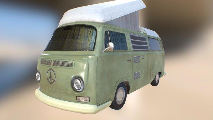 VW T2 Caravan lowpoly model 3D Model
